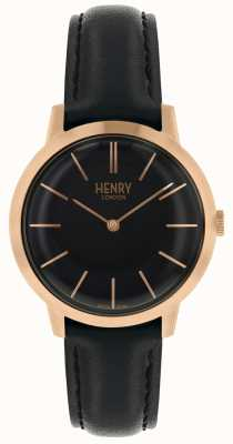 Henry London Orologio da donna iconico quadrante nero cinturino in pelle nera HL34-S-0218