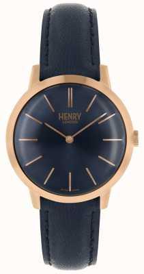 Henry London Cinturino in pelle blu con quadrante blu scuro HL34-S-0216