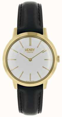 Henry London Cinturino in pelle nera con quadrante bianco HL34-S-0214
