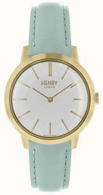 Henry London Cinturino in pelle blu con quadrante bianco HL34-S-0224