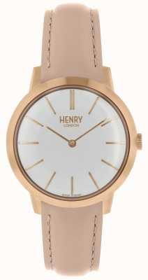 Henry London Cinturino in pelle color cuoio con quadrante bianco HL34-S-0222