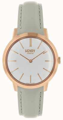 Henry London Cinturino in pelle grigia con quadrante bianco HL34-S-0220