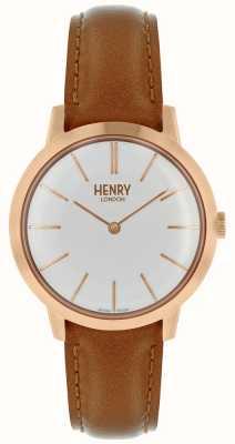 Henry London Cinturino in pelle color cuoio con cinturino marrone chiaro HL34-S-0212