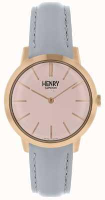 Henry London Cinturino in pelle grigia quadrante con quadrante rosa HL34-S-0228