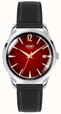 Henry London Chancery orologio unisex con quadrante rosso cinturino in pelle nera HL39-S-0095