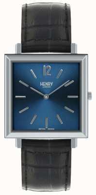 Henry London Heritage mens quadrante blu quadrante blu orologio cinturino in pelle HL34-QS-0267
