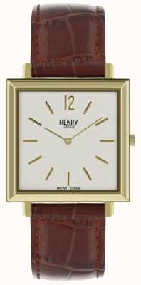 Henry London Heritage mens quadrante quadrante bianco cinturino in pelle marrone HL34-QS-0268