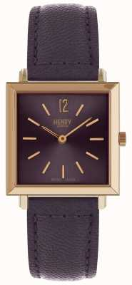 Henry London Heritage womens petite square watch purple HL26-QS-0260