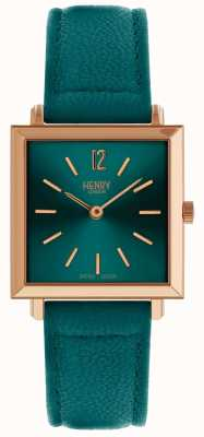 Henry London Orologio da donna quadrato verde petite Heritage HL26-QS-0258