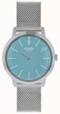 Henry London Quadrante blu con cinturino in maglia argento con orologio da donna HL34-M-0273