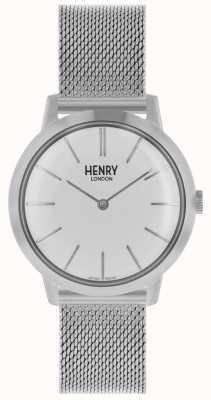 Henry London Quadrante bianco con cinturino in maglia argento con orologio da donna HL34-M-0231