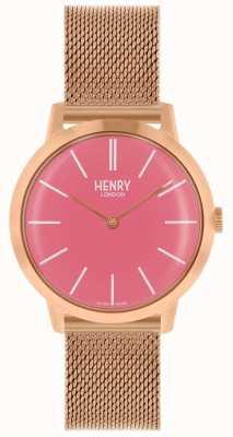 Henry London Quadrante rosa con cinturino in maglia oro rosa orologio da donna HL34-M-0272