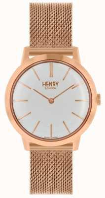 Henry London Quadrante bianco con cinturino in maglia oro rosa orologio da donna HL34-M-0230