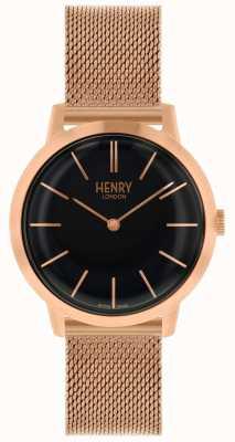Henry London Orologio iconico quadrante nero con cinturino a maglie in oro rosa HL34-M-0234