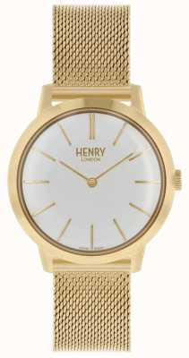 Henry London Quadrante bianco con cinturino in maglia oro con orologio da donna HL34-M-0232