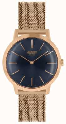 Henry London Quadrante blu con cinturino a maglia in oro rosa con orologio da uomo iconico HL34-M-0292