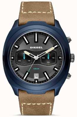 Diesel Orologio da uomo con cinturino in pelle marrone con cassa blu DZ4490