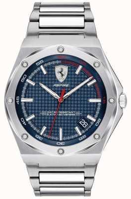 Scuderia Ferrari Mens aspire quadrante blu in acciaio inossidabile 0830530