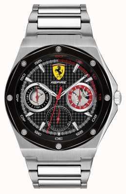 Scuderia Ferrari Mens aspire quadrante nero in acciaio inossidabile 0830535