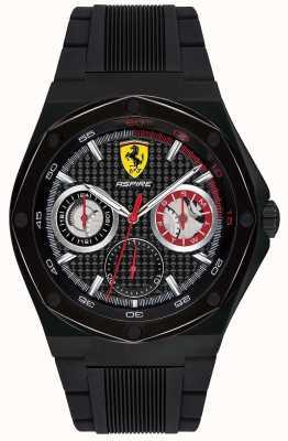 Scuderia Ferrari Mens ambire cinturino in caucciù nero con datario della cassa nera 0830538