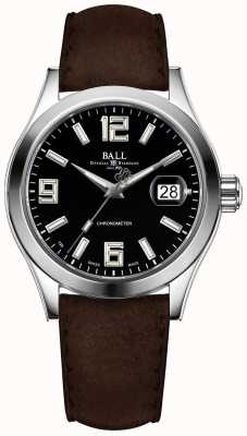 Ball Watch Company Cinturino in pelle marrone con quadrante nero pioniere dell'ingegnere ii NM2026C-L4CAJ-BK