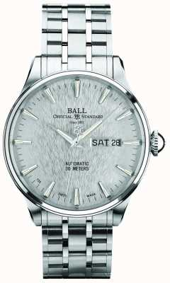 Ball Watch Company Quadrante argento eternità Trainmaster display automatico giorno data NM2080D-S1J-SL