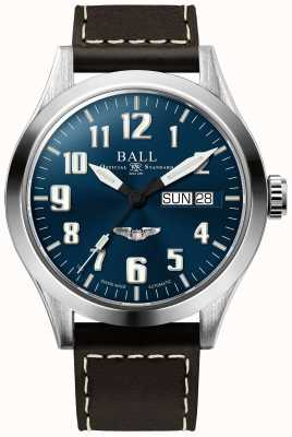 Ball Watch Company Quadrante blu con cinturino in pelle marrone argento stella ingegnere III NM2182C-L3J-BE