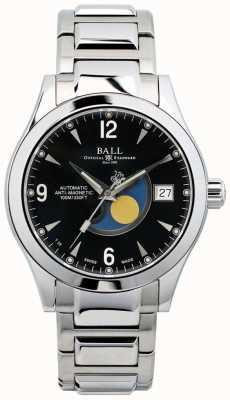 Ball Watch Company Indicazione della data del quadrante nero automatica della fase lunare dell'Ohio NM2082C-SJ-BK