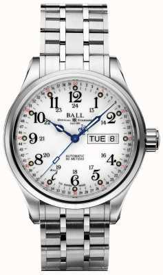 Ball Watch Company Azienda 60 secondi quadrante bianco giorno e data di visualizzazione NM1058D-S3J-WH