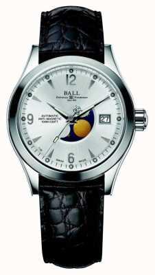 Ball Watch Company Cinturino in pelle con datario argento automatico a fasi lunari in Ohio NM2082C-LJ-SL