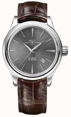 Ball Watch Company Cinturino in pelle marrone quadrante sunray quadrante grigio leggendario NM3080D-LJ-GY