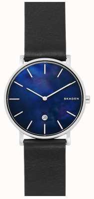 Skagen Orologio da uomo con quadrante blu cinturino in pelle nera hagen SKW6471