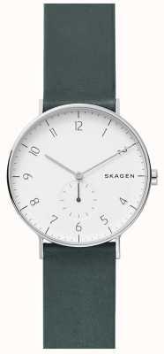 Skagen Orologio da uomo con cinturino in pelle verde aaren SKW6466