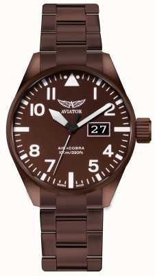 Aviator Orologio aircobra p42 in acciaio verniciato bronzo V.1.22.8.151.5