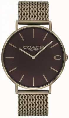 Coach Orologio da uomo in bronzo con cinturino in maglia di charles 14602147