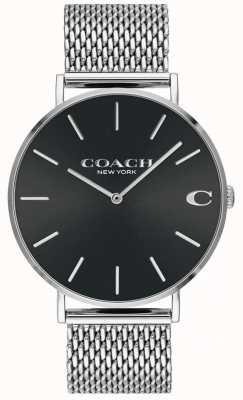 Coach Orologio da uomo charles con cinturino a maglie argento quadrante nero 14602144