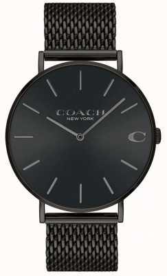Coach Orologio da uomo con quadrante nero con cinturino in maglia nera 14602148