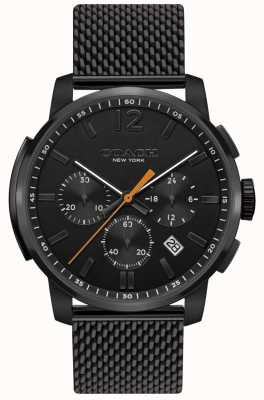 Coach Mens cruscotto multifunzione orologio crono nero mesh 14602344
