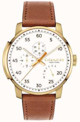 Coach Quadrante bianco multi funzione orologio uomo bleecker 14602340
