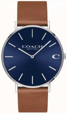 Coach Quadrante blu con cinturino in pelle marrone uomo Charles 14602151
