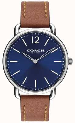 Coach Cinturino in pelle marrone con quadrante blu con quadrante marrone 14602345