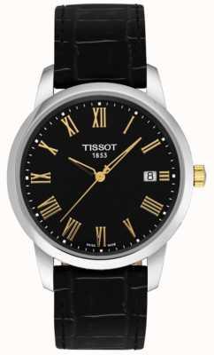 Tissot Mens classico da sogno in pelle nera quadrante nero con numeri romani T0334102605301