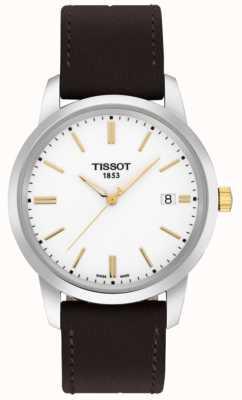 Tissot Quadrante bianco classico cinturino in pelle marrone da sogno T0334102601101