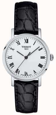 Tissot Quadrante bianco con cinturino in pelle nera classico sempre femminile T1092101603300