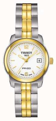Tissot Womens pr100 quadrante bianco in acciaio inossidabile placcato oro T0492102201700
