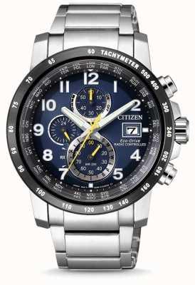Citizen Cronografo mondiale cronografo a controllo elettronico da uomo con eco-guida AT8124-91L