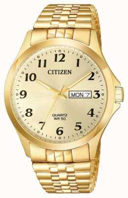 Citizen Data di scadenza del bracciale di espansione placcato oro da uomo BF5002-99P
