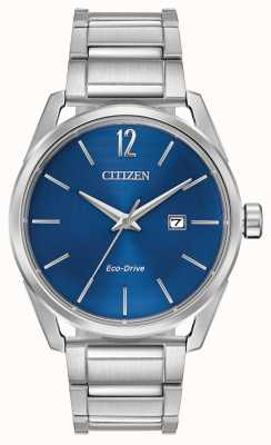 Citizen Orologio da uomo con quadrante blu in acciaio inossidabile con eco-drive BM7410-51L