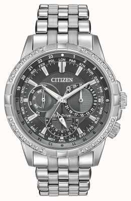 Citizen Quadrante grigio con 32 diamanti in acciaio inossidabile con rivestimento eco-drive BU2080-51H