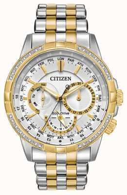 Citizen Quadrante argentato da uomo bicolore eco-drive bicolore 32 diamanti BU2084-51A